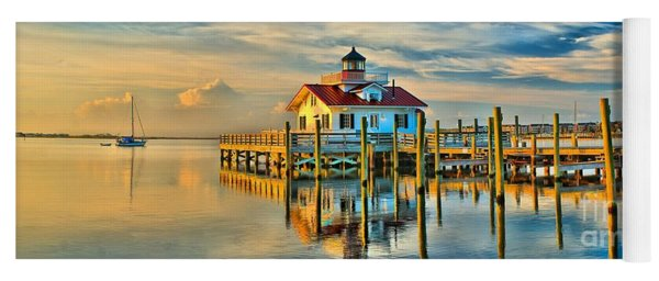 Roanoke Marsh Lighthouse Dawn Yoga Mat