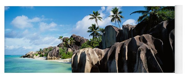 Rock Formations On The Beach, Anse Yoga Mat