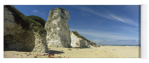 Rock Formations On The Beach, White Yoga Mat