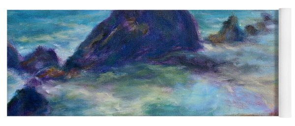 Rocks Heading North - Scenic Landscape Seascape Painting Yoga Mat