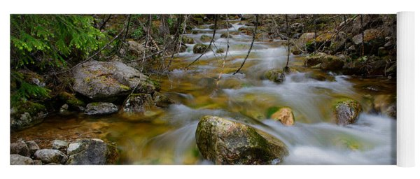 Rocky Forest Creek With Motion Blurred Water Yoga Mat