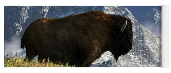 Yoga Mat featuring the digital art Rocky Mountain Buffalo by Daniel Eskridge