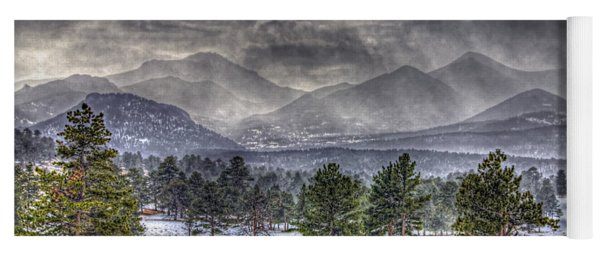 Rocky Mountain Snow Storm Estes Park Colorado Yoga Mat