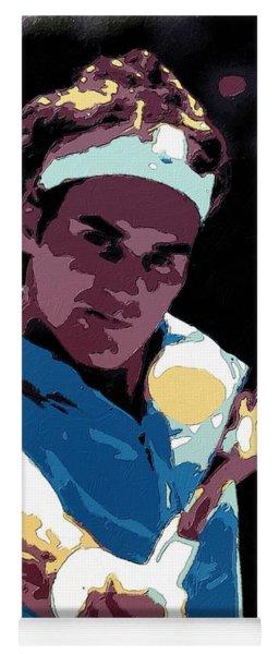 Roger Federer Portrait Art Yoga Mat