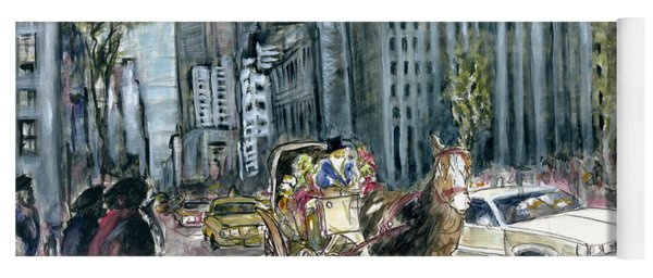 New York 5th Avenue Ride - Fine Art Painting Yoga Mat
