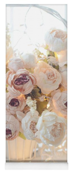 Romantic Shabby Chic Dreamy Pink And White Peonies - Shabby Chic Peonies In Basket Yoga Mat
