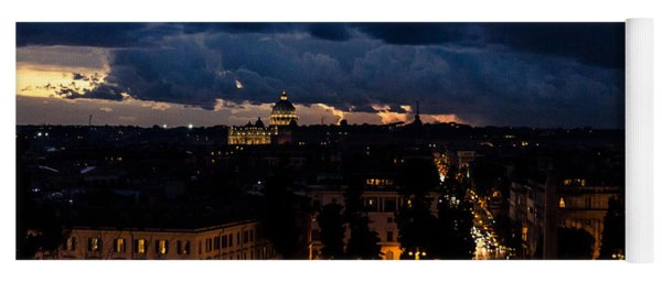 Rome Cityscape At Night  Yoga Mat