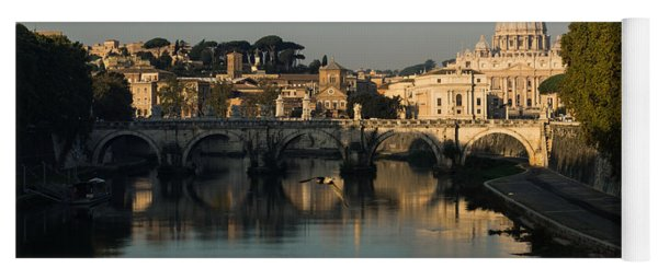 Rome - Iconic View Of Saint Peter's Basilica Reflecting In Tiber River Yoga Mat