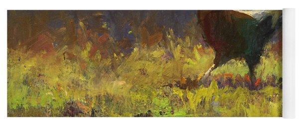 Rooster Strut - Impressionistic Chicken Landscape - Abstract Farm Art - Chicken Art - Farm Decor Yoga Mat