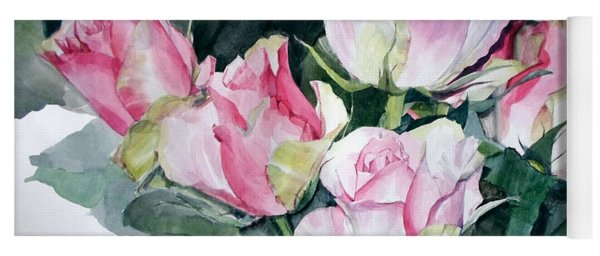 Watercolor Of A Pink Rose Bouquet Celebrating Ezio Pinza Yoga Mat