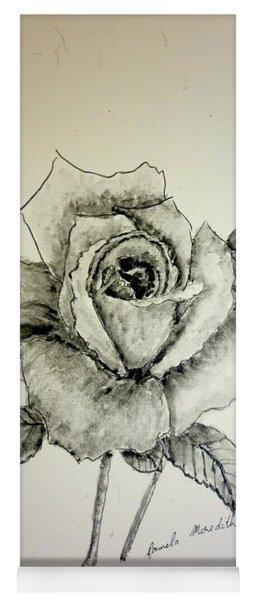 Rose In Monotone Yoga Mat