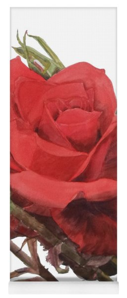 Watercolor Of A Single Red Rose On A Stem With Buds I Call Rose Jake Yoga Mat