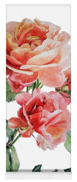 Watercolor Of Red Roses On A Stem I Call Rose Maurice Corens Yoga Mat