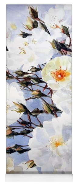 Wartercolor Of White Roses On A Branch I Call Rose Tchaikovsky Yoga Mat