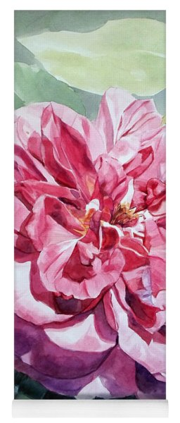 Watercolor Of A Pink Rose In Full Bloom Dedicated To Van Gogh Yoga Mat