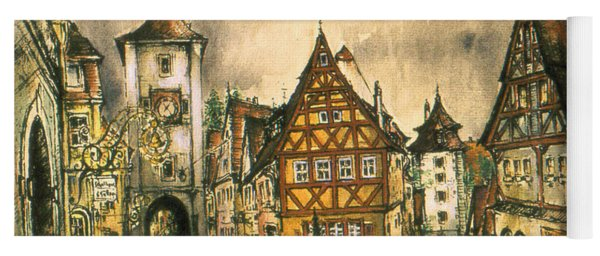 Rothenburg Bavaria Germany - Romantic Watercolor Yoga Mat