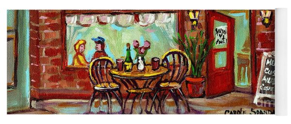 Rotisserie Le Chalet Bbq Restaurant Paintings Storefronts Street Scenes Diners Montreal Art Cspandau Yoga Mat