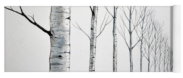 Row Of Birch Trees In The Snow Yoga Mat