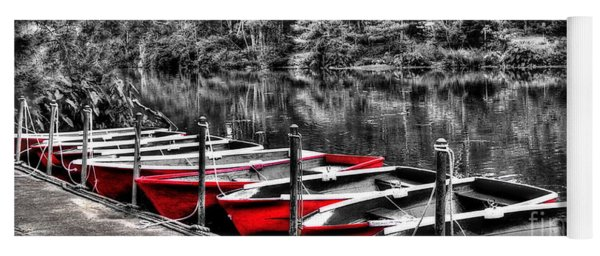 Row Of Red Rowing Boats Yoga Mat