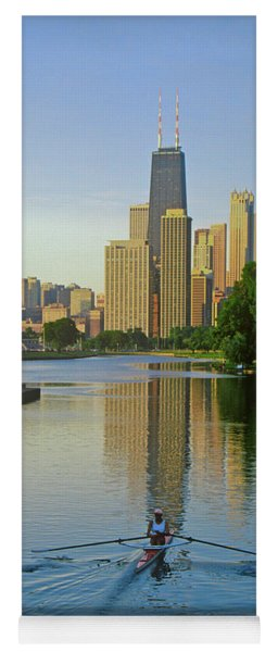 Rower On Chicago River With Skyline Yoga Mat