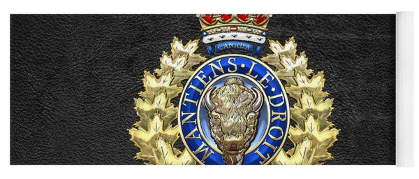 Royal Canadian Mounted Police - Rcmp Badge On Black Leather Yoga Mat
