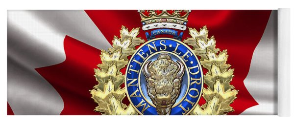 Royal Canadian Mounted Police - Rcmp Badge Over Waving Flag Yoga Mat