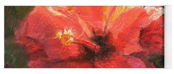 Ruffled Light Double Hibiscus Flower Yoga Mat