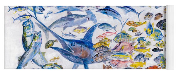 Russ Smiley Gamefish Collage Yoga Mat