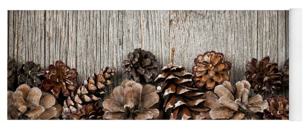 Rustic Wood With Pine Cones Yoga Mat