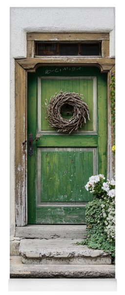 Rustic Wooden Village Door - Austria Yoga Mat