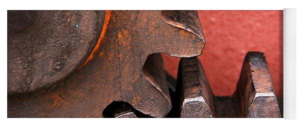 Rusty And Metallic Gear Wheel Yoga Mat