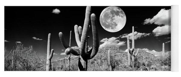 Saguaro Cactus In Moonlight At Saguaro Yoga Mat
