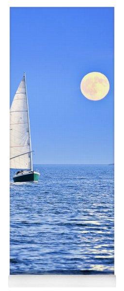 Sailboat At Full Moon Yoga Mat