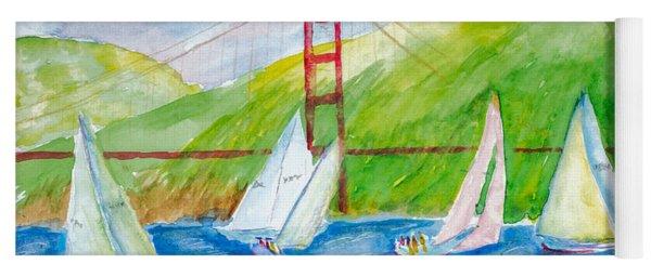 Sailboat Race At The Golden Gate Yoga Mat
