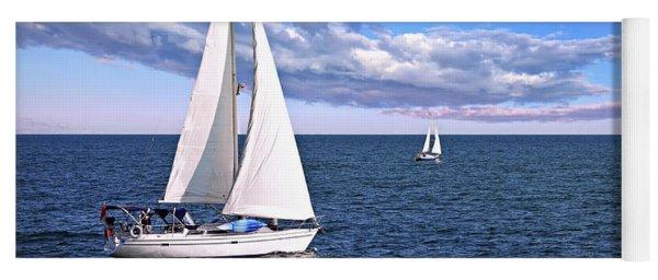 Sailboats At Sea Yoga Mat