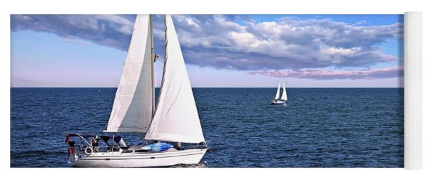 Sailboats At Sea Yoga Mat