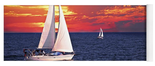 Sailboats At Sunset Yoga Mat