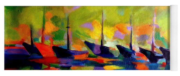 Sailing Boats By The River Yoga Mat