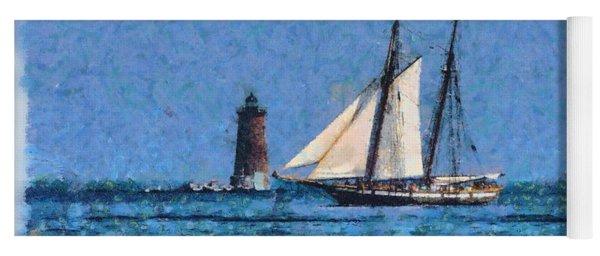Sailing Past Whaleback Lighthouse Yoga Mat