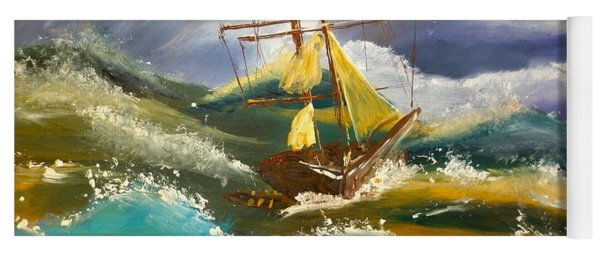 Sailing Ship In A Storm Yoga Mat