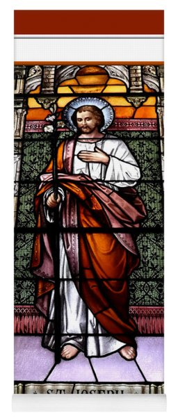 Saint Joseph  Stained Glass Window Yoga Mat