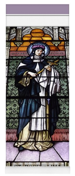 Saint Rose Of Lima Stained Glass Window Yoga Mat