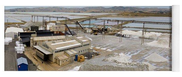 Saline Refinery Stockpiles Sea Salt Under Conveyor Yoga Mat