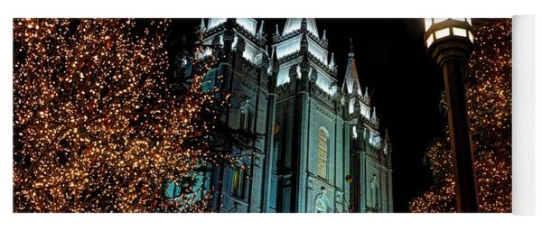 Salt Lake City Mormon Temple Christmas Lights Yoga Mat