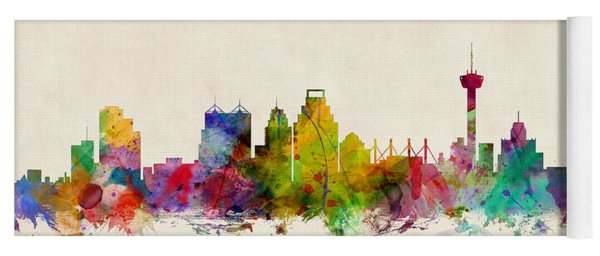 San Antonio Texas Skyline Yoga Mat