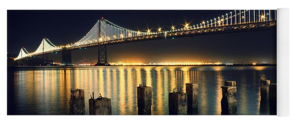 San Francisco Bay Bridge Illuminated Yoga Mat