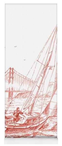 San Francisco Bay Sailing To Golden Gate Bridge Yoga Mat