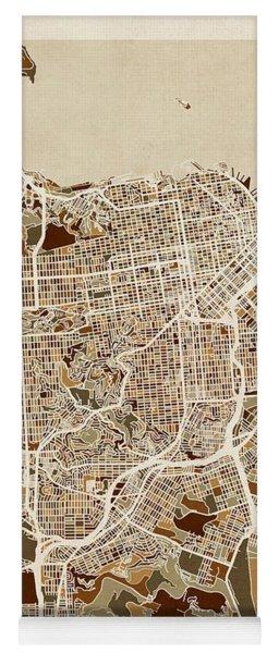 San Francisco City Street Map Yoga Mat
