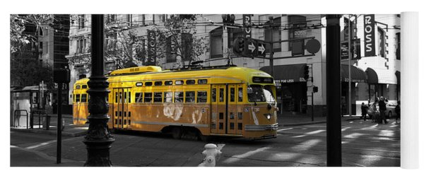 San Francisco Vintage Streetcar On Market Street - 5d19798 - Black And White And Yellow Yoga Mat