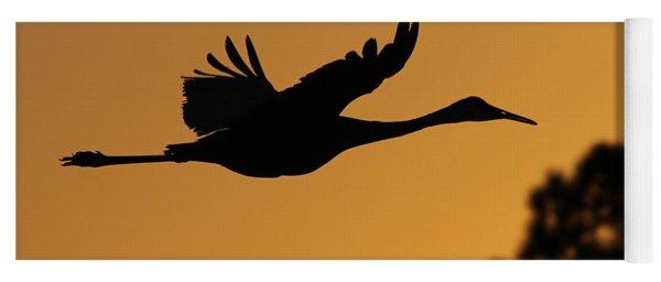 Sandhill Crane In Flight Yoga Mat